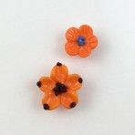 Glass Realistic Orange Flower Pair