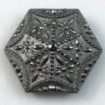 Silver Luster Black Glass Hexagon