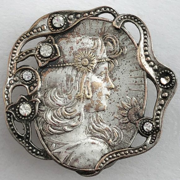 Arts & Crafts Movement Periods & Styles Clever Antique Arts & Crafts Pewter Round Brooch Ruskin High Fired Cabochon